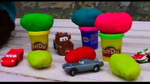Видео Тачки на руском Киндер сюрприз ПлэйДо тесто игрушки