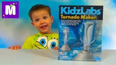 Видео Торнадо в бутылке опыты в специальном Мейкере Tornado Maker