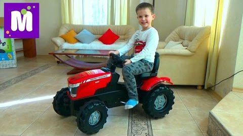 Видео Трактор большой педальный распаковка, сборка и тест драйв трактора Roller Toys