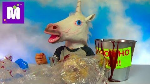 Видео Ведро со слизью и первоапрельскими приколами игрушками конь единорог