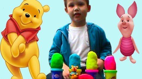 Видео Винни Пух на русском яйца сюрприз ПлэйДо тесто