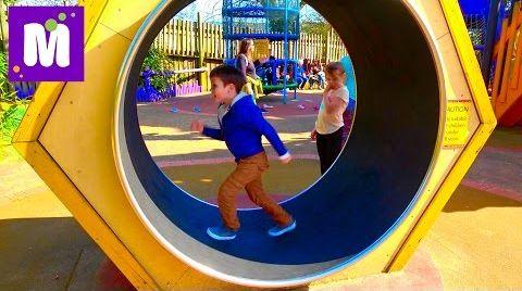 Видео ВЛОГ/ Смешной слон и Тарзанка / Надувная Супер горка в парке для детей
