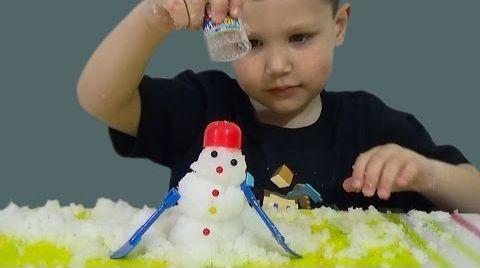 Видео Волшебный снег распаковка делаем снеговика игрушка
